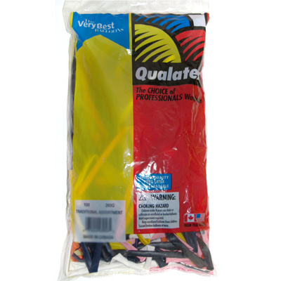 260Q Traditional Assorted Balloons from Qualatex 100 count bag
