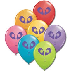 Alien Balloons Assorted Colors 5 inch Round