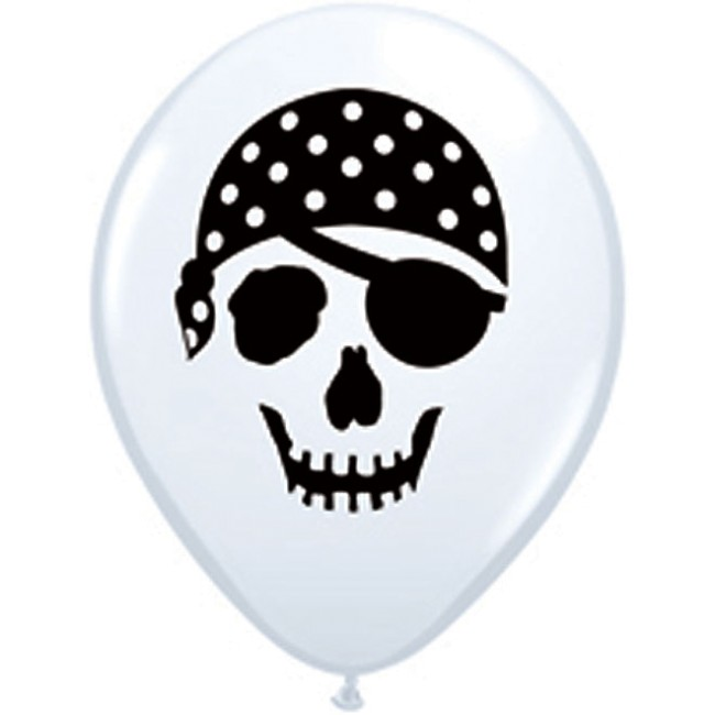 Pirate Skull Balloons White 5 inch