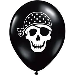 Pirate Skull Balloons Black 5 inch