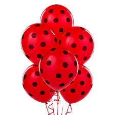 Red with Black Polka Dot Balloons 5 inch