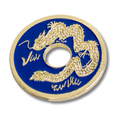 Chinese Coin (Blue Half Dollar Size) by Royal Magic Trick